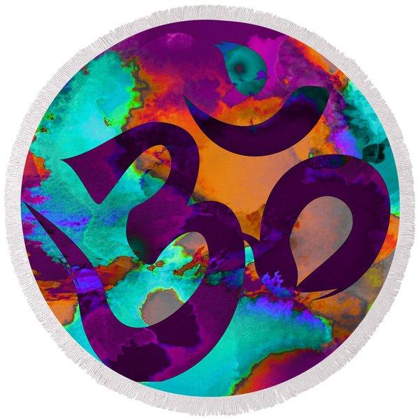Om Symbol, Purple, Orange And Light Blue Round Beach Towel