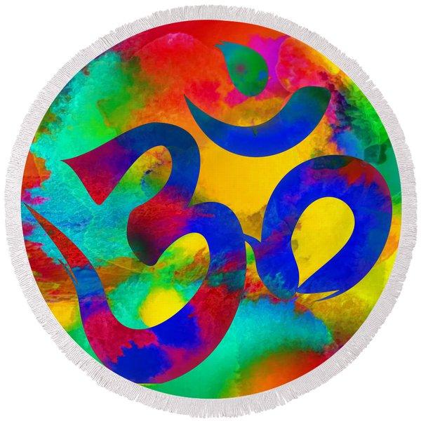 Om Symbol, Rainbow Round Beach Towel