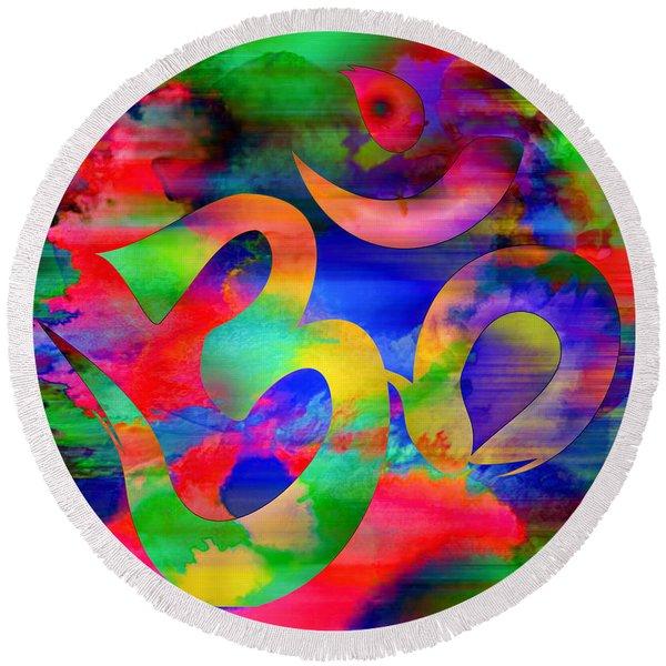 Om Symbol, Rainbow, Ver4 Round Beach Towel