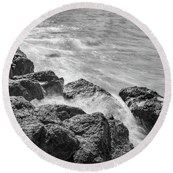 Ocean Rocks Round Beach Towel