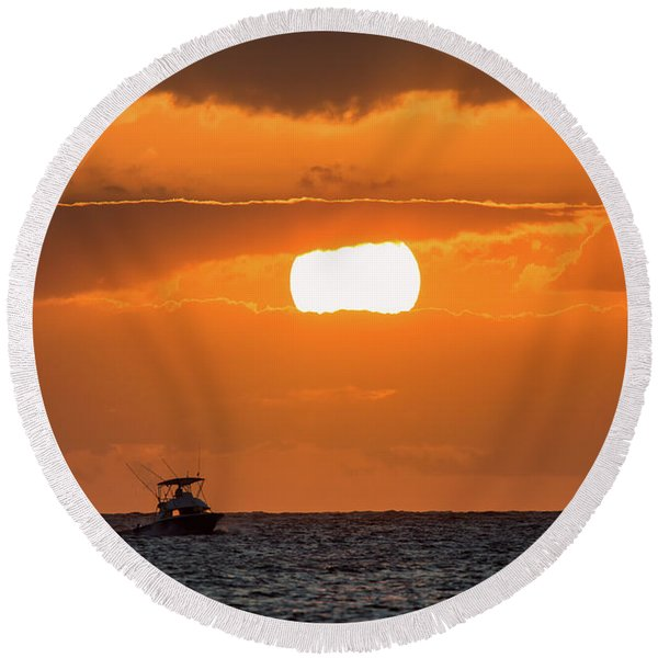 On The Water Round Beach Towel