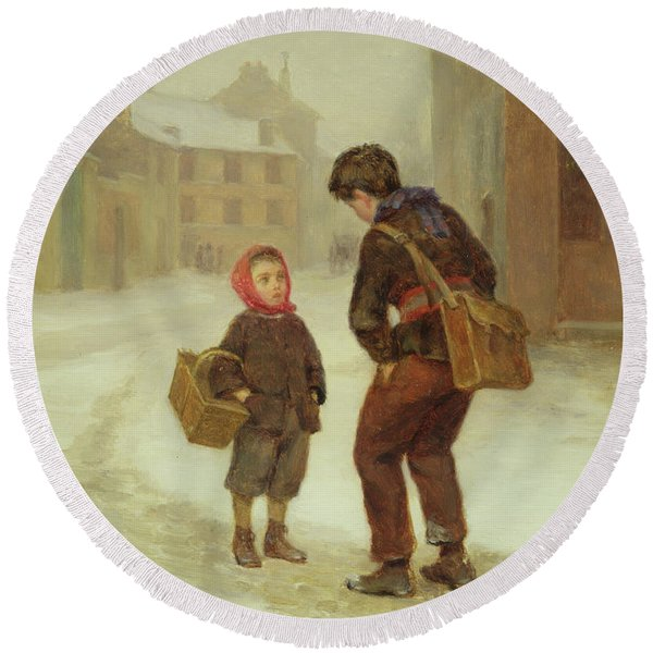 On The Way To School In The Snow Round Beach Towel
