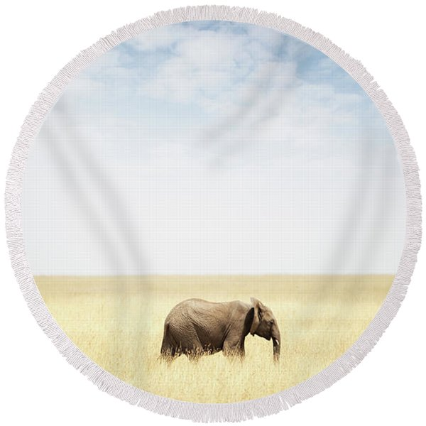 One Elephant Walking In Grass In Africa Round Beach Towel