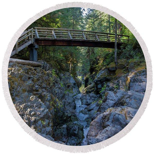 Opal Creek Bridge Round Beach Towel