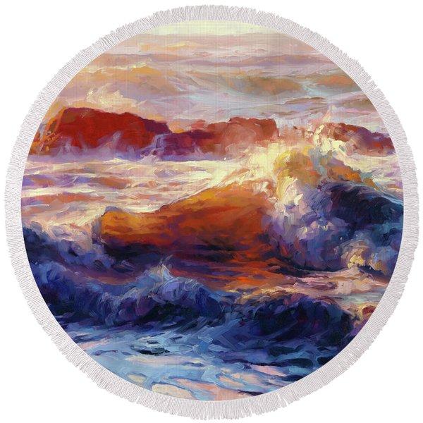 Opalescent Sea Round Beach Towel