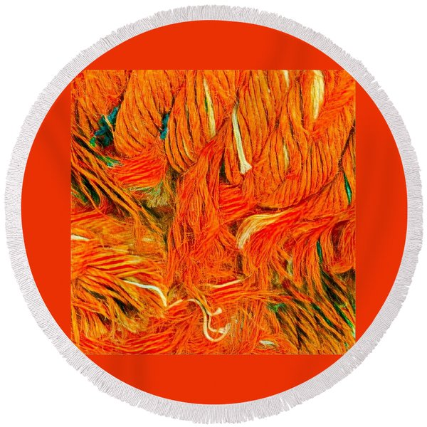 Round Beach Towel featuring the photograph Orange Art by Colette V Hera Guggenheim