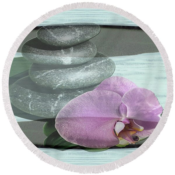 Orchid Tranquility Round Beach Towel