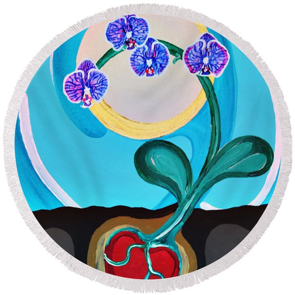 Orchids For My Love Round Beach Towel