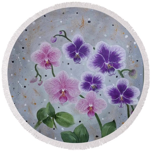 Orchids Galore Round Beach Towel
