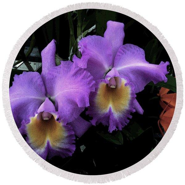 Orchids Purple Passion Round Beach Towel