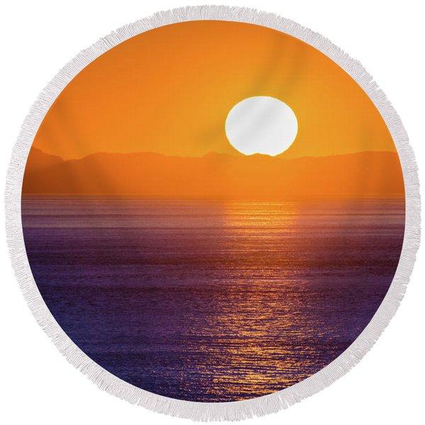 Oregon Sunset Round Beach Towel