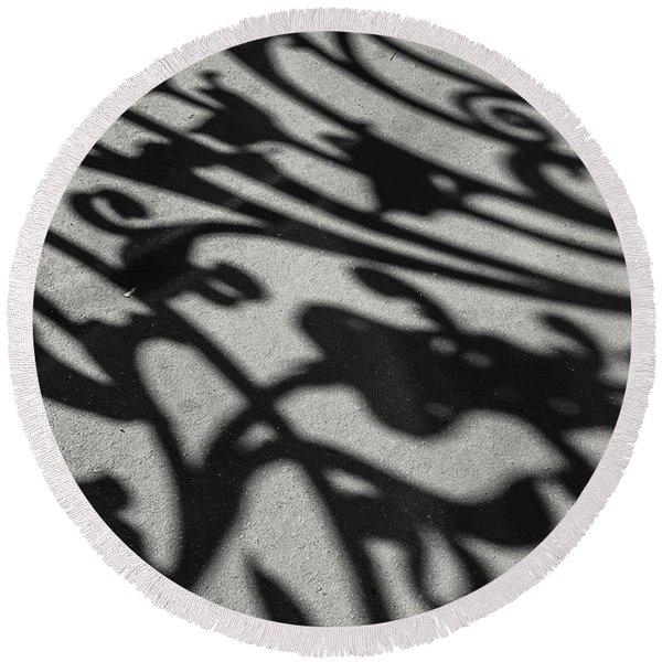 Ornate Shadows Round Beach Towel