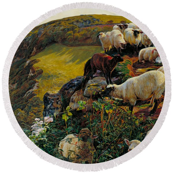 Our English Coasts Or Strayed Sheep Round Beach Towel