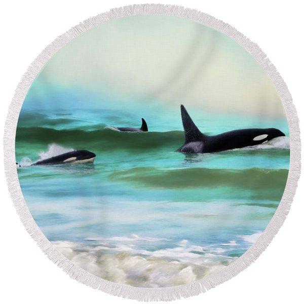 Our Family - Orca Whale Art Round Beach Towel