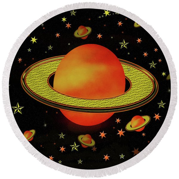 Outer Harvest Moons Round Beach Towel