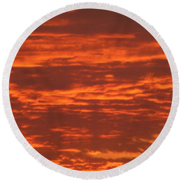 Outrageous Orange Sunrise Round Beach Towel