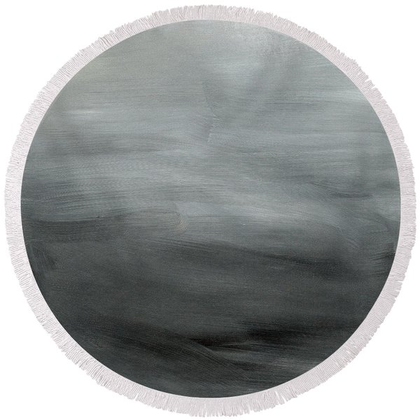 Overcast Morning- Abstract Art By Linda Woods Round Beach Towel