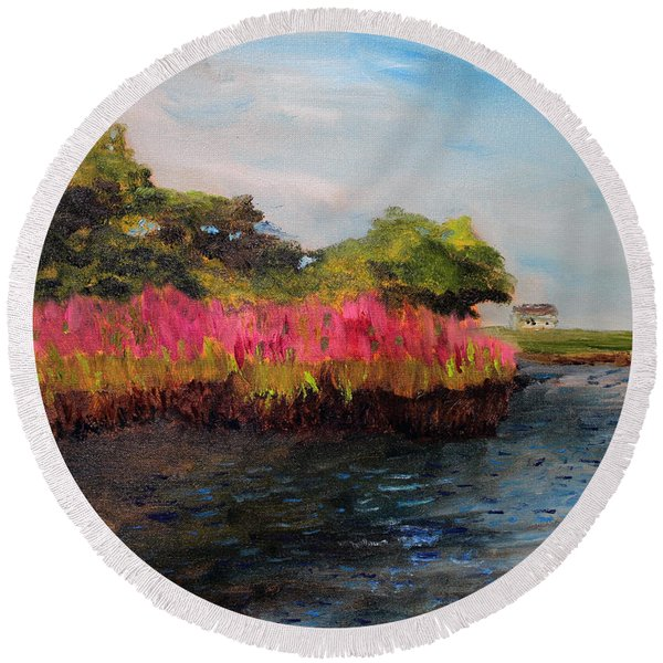 Oyster Pond Falmouth Round Beach Towel