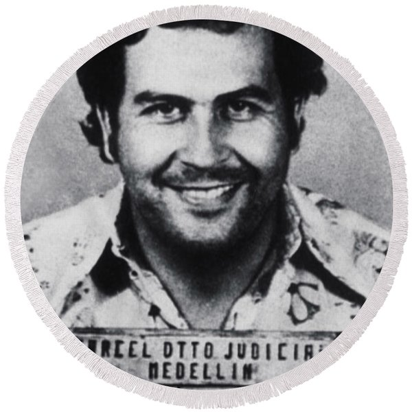 Pablo Escobar Mug Shot 1991 Vertical Round Beach Towel