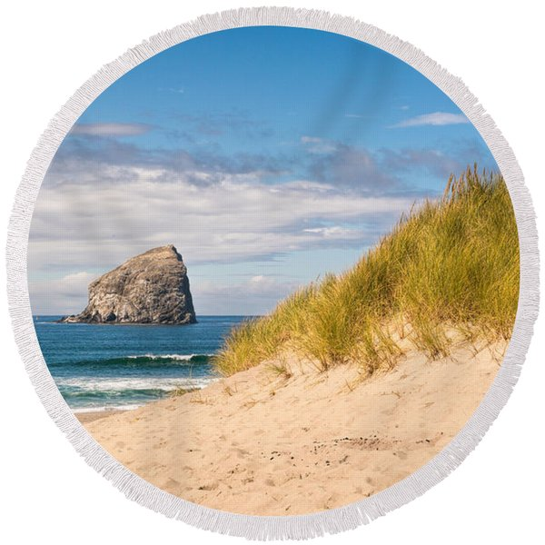Round Beach Towel featuring the photograph Pacific Beach Haystack by Michael Hope