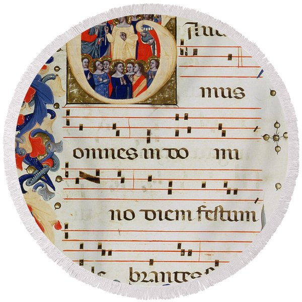 Page Of Musical Notation With A Historiated Letter G Round Beach Towel