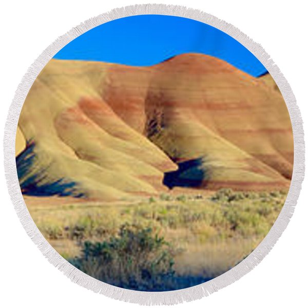 Painted Hills Extreme Pano  Round Beach Towel