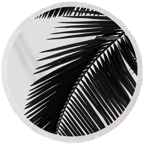 Palm Leaves Bw Round Beach Towel