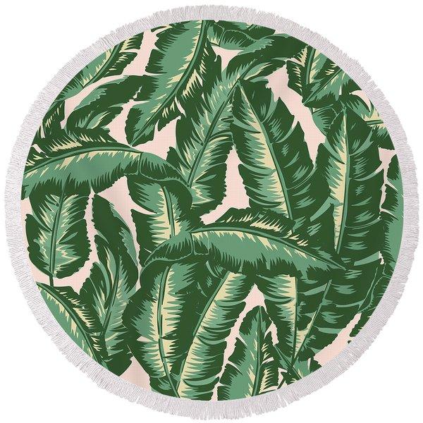 Palm Print Round Beach Towel