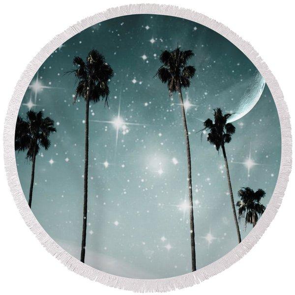 Palm Trees .... Starry Night Round Beach Towel