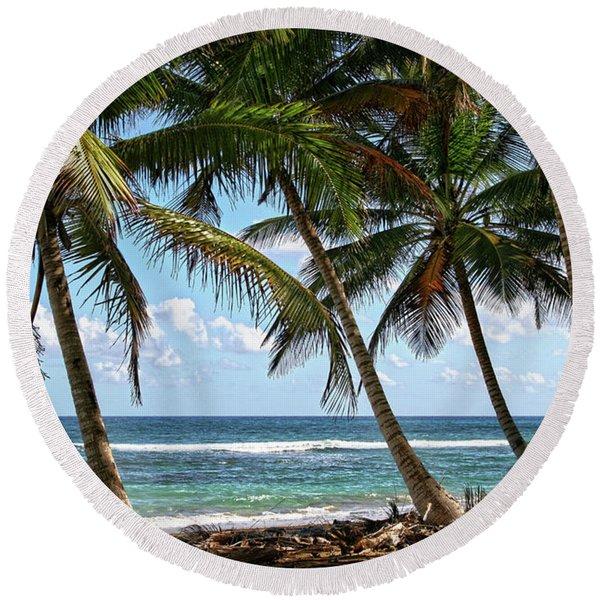 Palm Walk Round Beach Towel