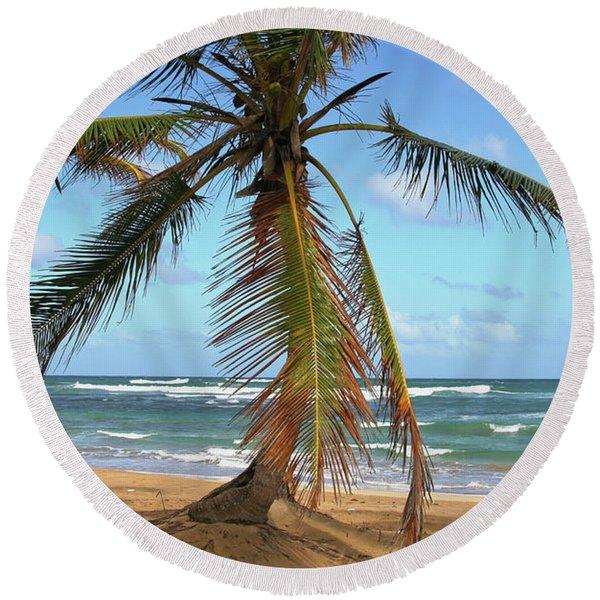 Palms And Sand Round Beach Towel