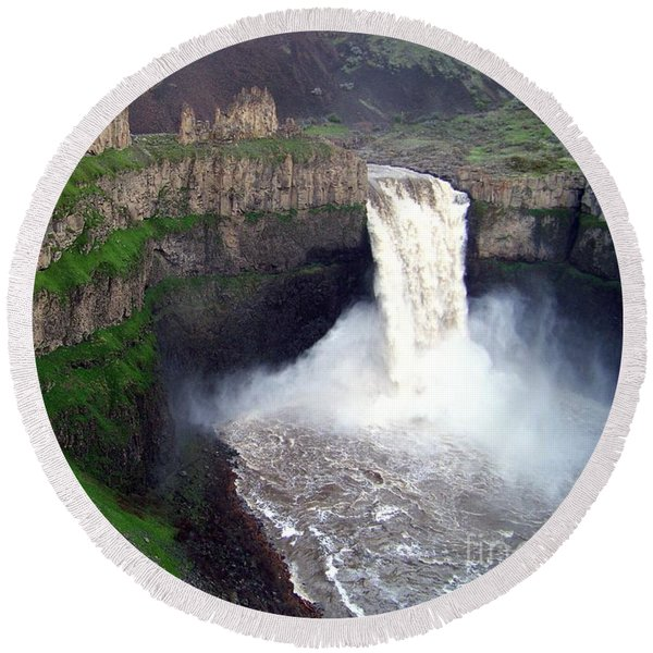 Palouse Falls - The Official Washington State Waterfall Round Beach Towel