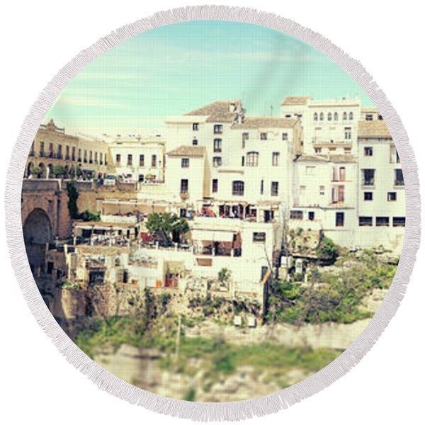 Round Beach Towel featuring the photograph panorama of  Rondo in Spain by Ariadna De Raadt