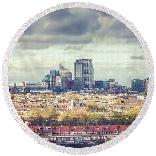 Round Beach Towel featuring the photograph panorama of the Hague modern city by Ariadna De Raadt