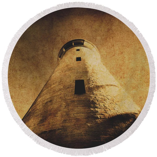 Parchment Paper Lighthouse Round Beach Towel