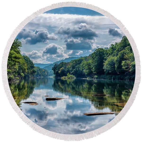 Partially Cloudy Gauley River Round Beach Towel