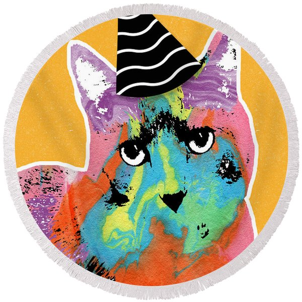 Party Cat- Art By Linda Woods Round Beach Towel