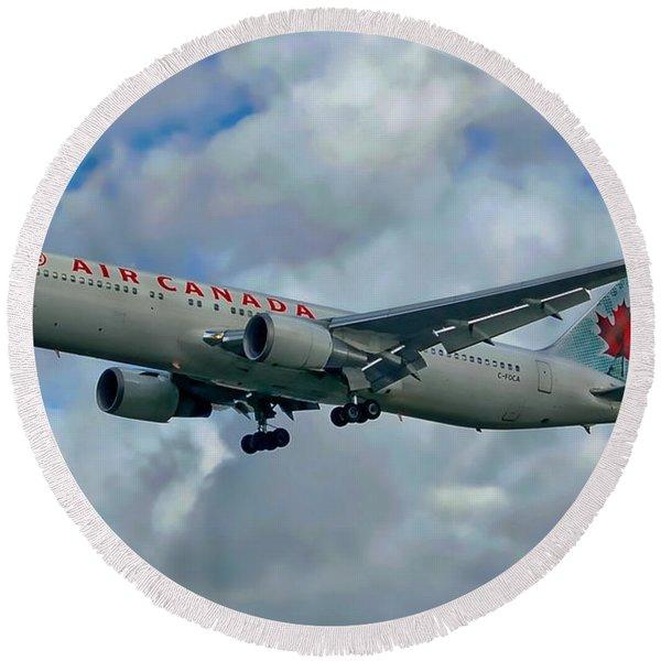Passenger Jet Plane Round Beach Towel