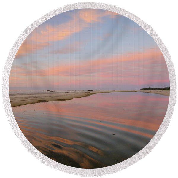 Pastel Skies And Beach Lagoon Reflections Round Beach Towel