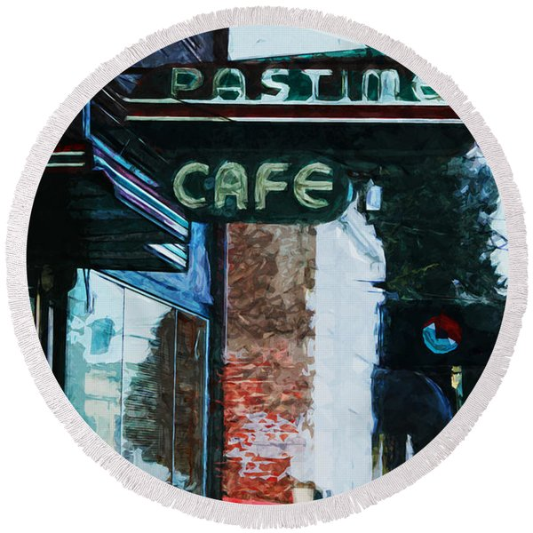 Pastime Cafe- Art By Linda Woods Round Beach Towel
