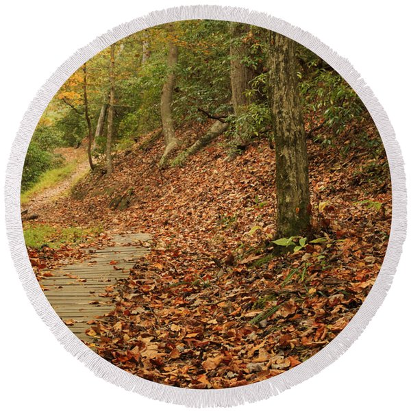 Path To Autumn Round Beach Towel