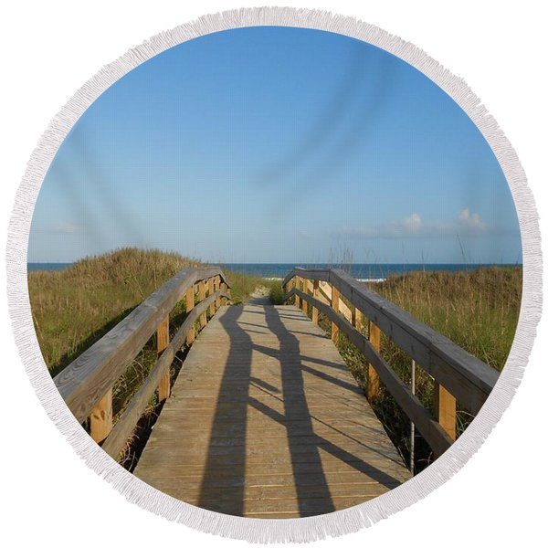 Path To Happiness Round Beach Towel
