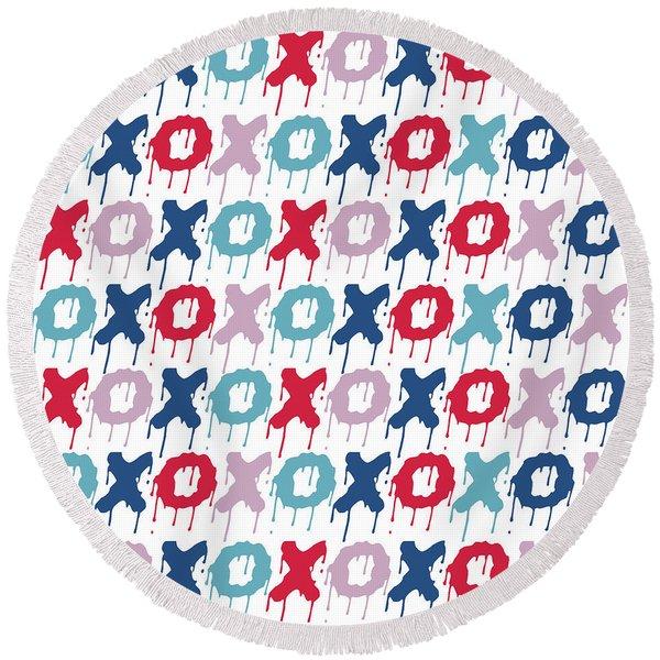 Pattern X O  Round Beach Towel