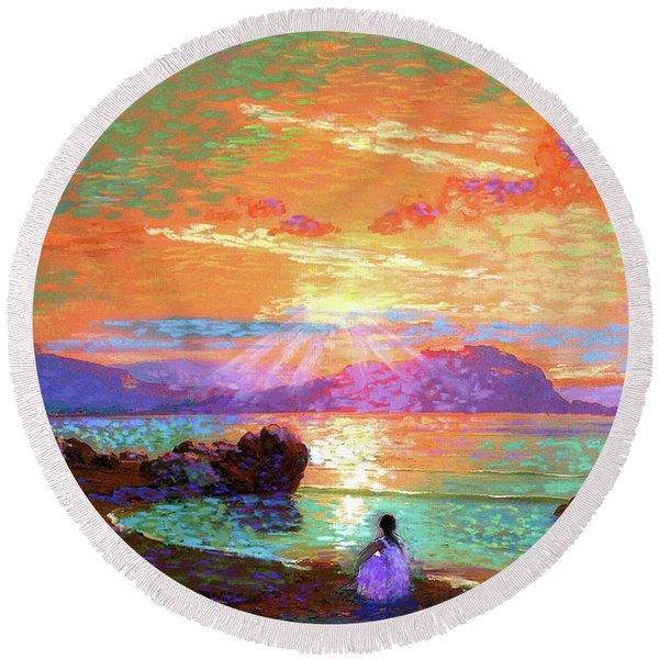 Peace Be Still Meditation Round Beach Towel
