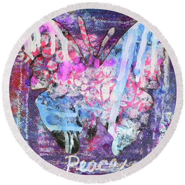 Peace Butterfly Round Beach Towel