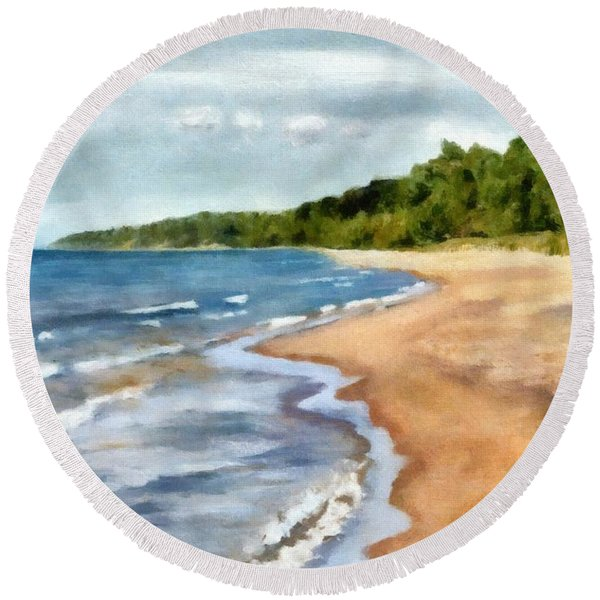 Peaceful Beach At Pier Cove Ll Round Beach Towel