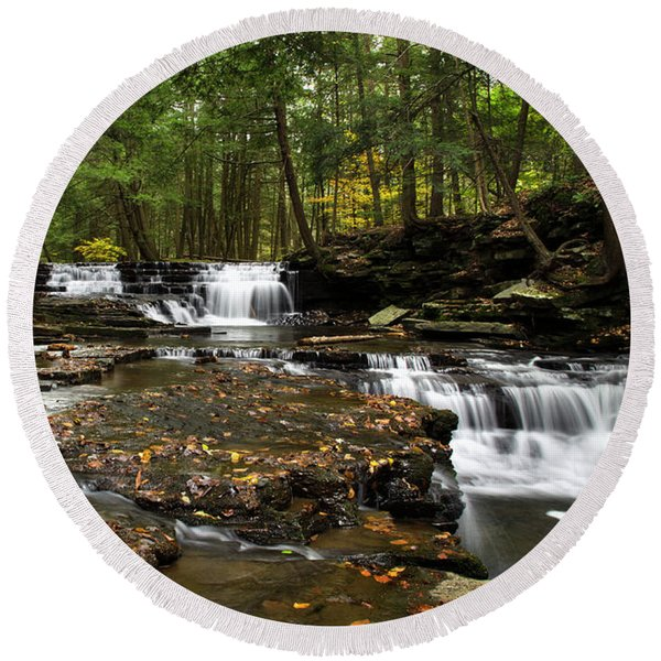 Peaceful Flowing Falls Round Beach Towel