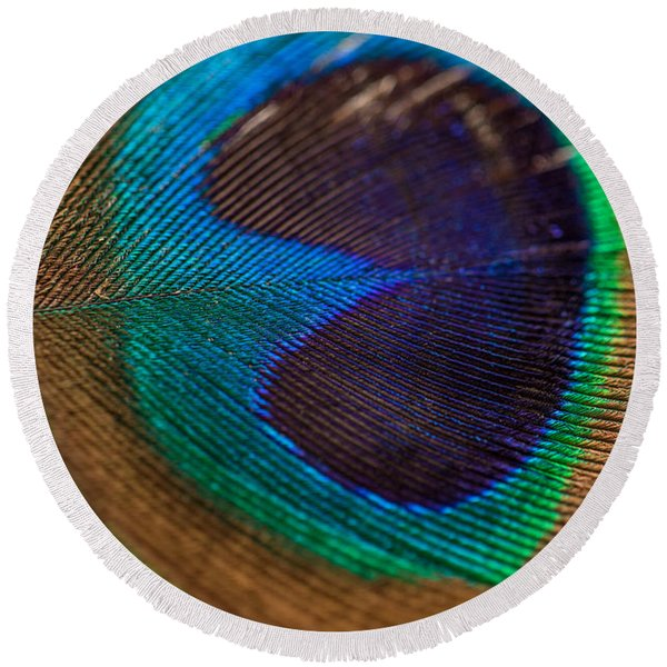 Peacock Feather Macro Detail Round Beach Towel
