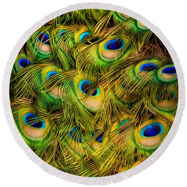 Peacock Tails Round Beach Towel