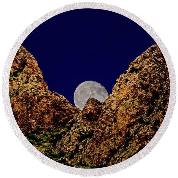 Peak Full Moon H03 Round Beach Towel